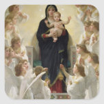 La Virgen con Angels, 1900 Calcomanías Cuadradass Personalizadas