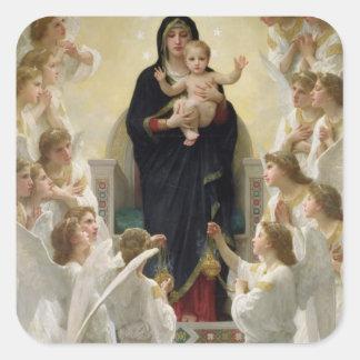 La Virgen con Angels 1900 Calcomanías Cuadradass Personalizadas