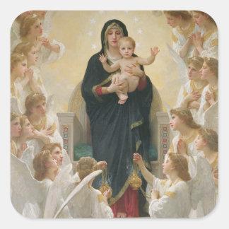 La Virgen con Angels, 1900 Pegatinas Cuadradas Personalizadas
