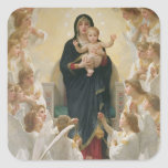 La Virgen con Angels, 1900 Pegatina Cuadrada