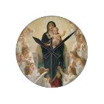 La Virgen con Angels, 1900 Reloj Redondo Mediano