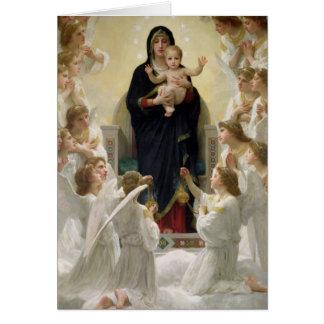 La Virgen con Angels, 1900 Tarjeta De Felicitación