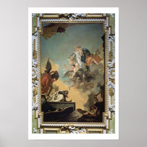 La Virgen de Carmel que da el omóplato al Ble Poster