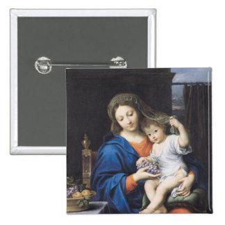 La Virgen de las uvas, 1640-50 Pin Cuadrado