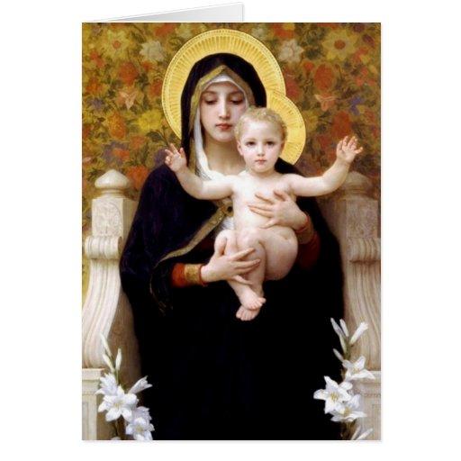 La Virgen de los lirios - tarjeta de Navidad