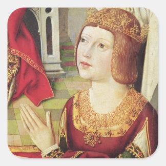 La Virgen de los reyes católicos 2 Calcomanias Cuadradas