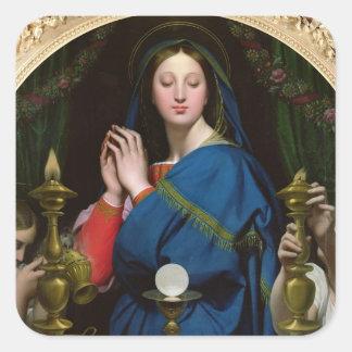 La Virgen del anfitrión, 1854 Pegatina Cuadrada