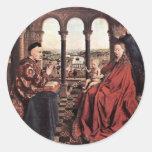 La Virgen del canciller Rolin. En enero Van Eyck ( Pegatinas Redondas
