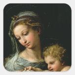 La Virgen del color de rosa, c.1518 Calcomanías Cuadradass