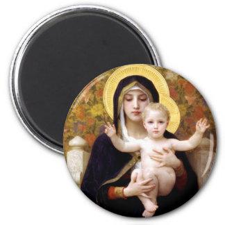 La Virgen del Lillies Imán Redondo 5 Cm