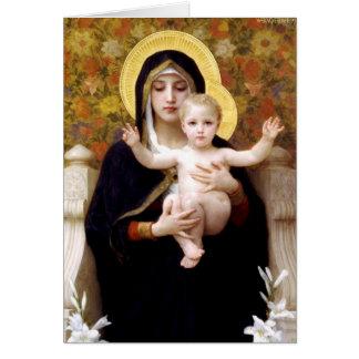 La Virgen del Lillies Tarjeta De Felicitación