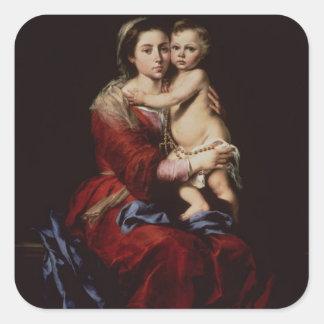 La Virgen del rosario, c.1650 Pegatina Cuadrada