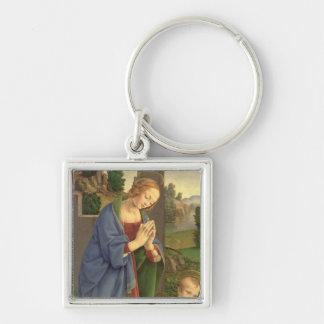 La Virgen que adora al niño, 1490-1500 Llavero Cuadrado Plateado