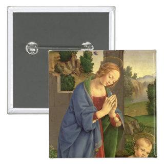 La Virgen que adora al niño, 1490-1500 Pin Cuadrado