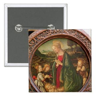 La Virgen que adora al niño de Cristo Pin Cuadrado