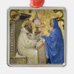 La Virgen que aparece a St Bernard, detalle de a Adorno Navideño Cuadrado De Metal