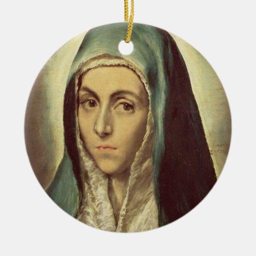 La Virgen que está de luto (aceite en lona) Adorno Navideño Redondo De Cerámica