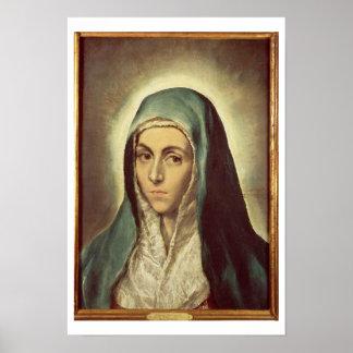 La Virgen que está de luto (aceite en lona) Póster