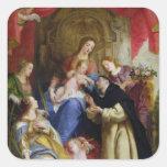 La Virgen que ofrece el rosario Calcomanía Cuadrada