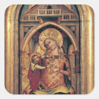 La Virgen y el niño, 1372 Pegatina Cuadrada