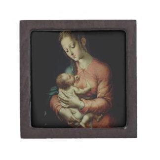 La Virgen y el niño (aceite en el panel) Caja De Recuerdo De Calidad