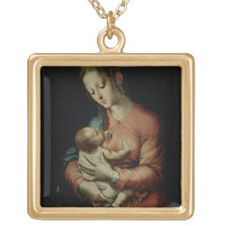 La Virgen y el niño (aceite en el panel) Collar Dorado