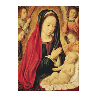 La Virgen y el niño adorados por ángeles Impresiones En Lona