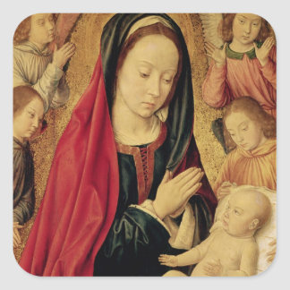 La Virgen y el niño adorados por ángeles Calcomanias Cuadradas