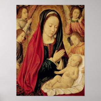 La Virgen y el niño adorados por ángeles Póster