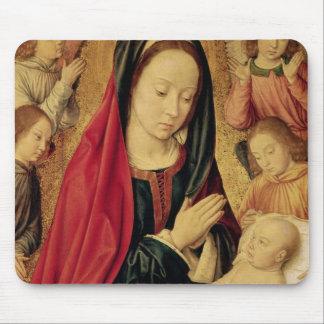 La Virgen y el niño adorados por ángeles Tapete De Ratón