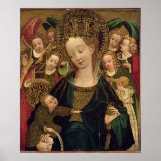 La Virgen y el niño con ángeles Posters