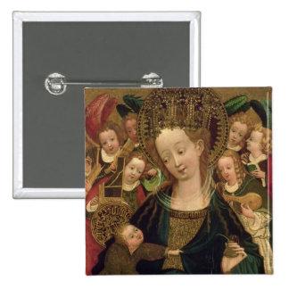 La Virgen y el niño con ángeles Pin Cuadrada 5 Cm