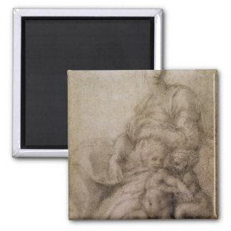 La Virgen y el niño con el Bautista infantil Imán Cuadrado