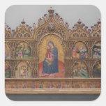 La Virgen y el niño con escenas legendarias Pegatina Cuadrada