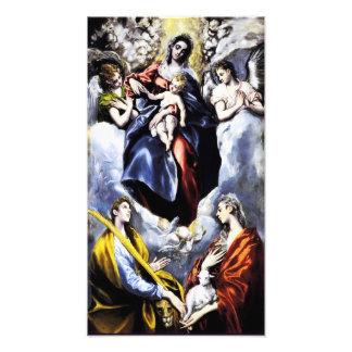La Virgen y el niño con la impresión de la foto de
