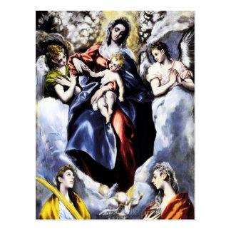 La Virgen y el niño con la postal del St. Martina