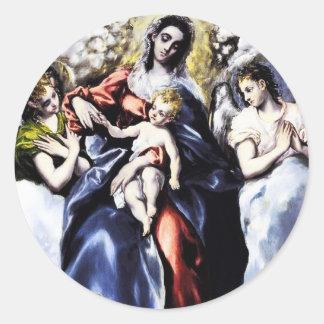 La Virgen y el niño con los pegatinas del St. Etiquetas Redondas