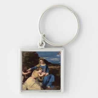 La Virgen y el niño con los santos, 1532 Llavero Cuadrado Plateado