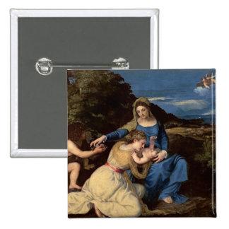 La Virgen y el niño con los santos, 1532 Pin Cuadrada 5 Cm