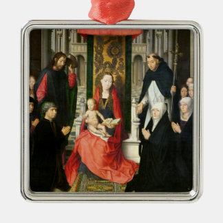 La Virgen y el niño con San Jaime y St Dominic Adorno Cuadrado Plateado