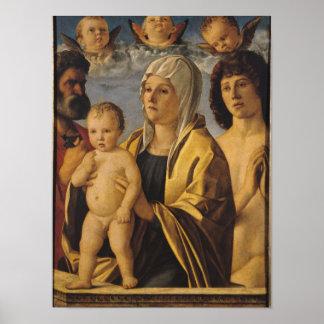 La Virgen y el niño con San Pedro y el St. Póster