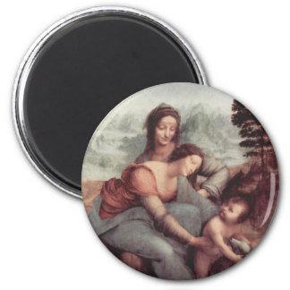 La Virgen y el niño con St Anne Imán Redondo 5 Cm