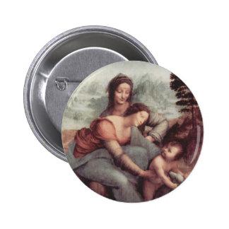 La Virgen y el niño con St Anne Pin Redondo De 2 Pulgadas