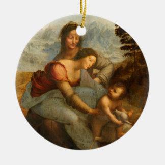 La Virgen y el niño con St Anne por da Vinci Adorno Navideño Redondo De Cerámica