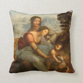 La Virgen y el niño con St Anne por da Vinci Cojín Decorativo