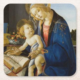 La Virgen y el niño de Sandro Botticelli Posavasos De Cartón Cuadrado