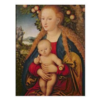 La Virgen y el niño debajo de un manzano Tarjeta Postal