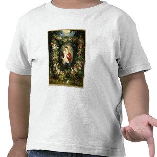 La Virgen y el niño en una guirnalda de la fruta y Camisetas