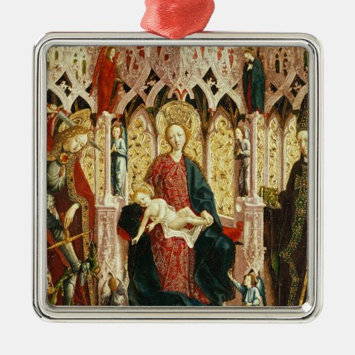 La Virgen y el niño Enthroned, c.1475 Adornos