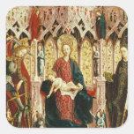 La Virgen y el niño Enthroned, c.1475 Calcomanía Cuadradas Personalizada